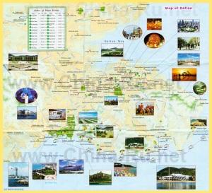 Карта города Далянь с достопримечательностями и отелями