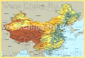 Физическая карта Китая