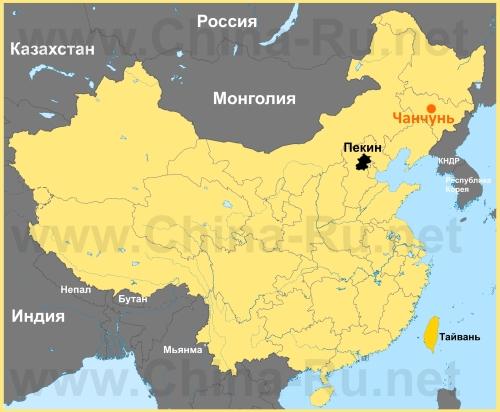 Чанчунь на карте Китая