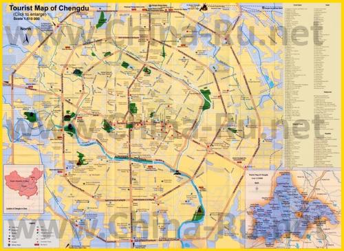 Подробная карта города Чэнду с отелями, ресторанами и магазинами