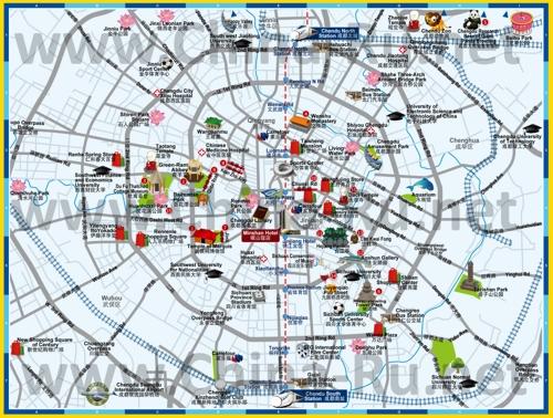 Туристическая карта Чэнду с достопримечательностями