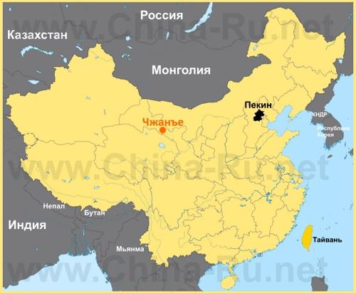 Чжанъе на карте Китая