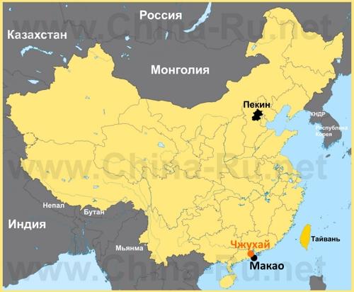 Чжухай на карте Китая