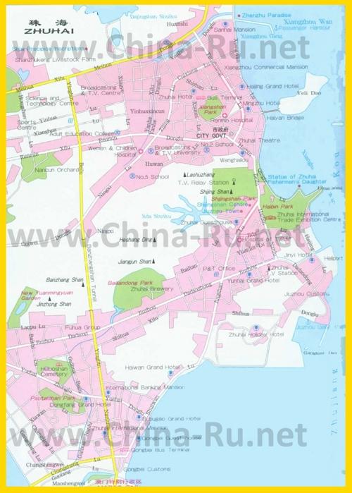 Подробная карта города Чжухай