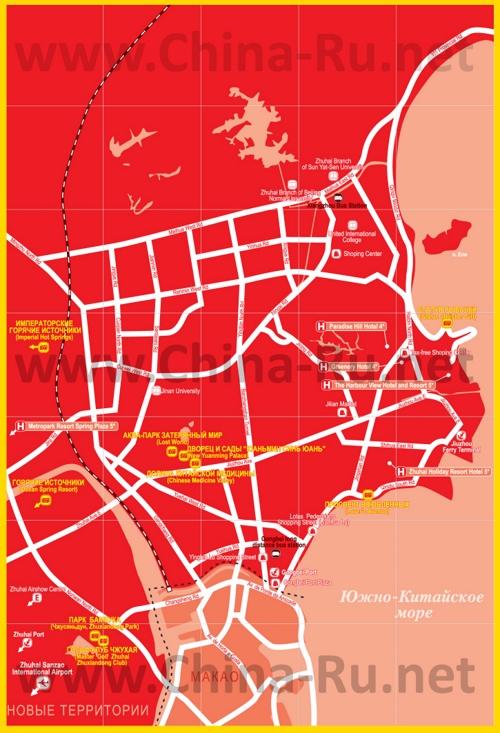 Туристическая карта Чжухая с отелями и достопримечательностями