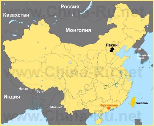 Чжуншань на карте Китая