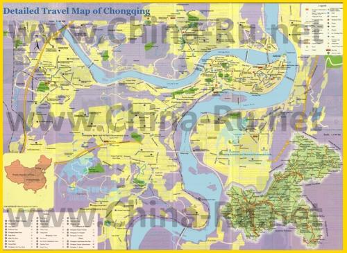Подробная карта города Чунцин с отелями, достопримечательностями и магазинами
