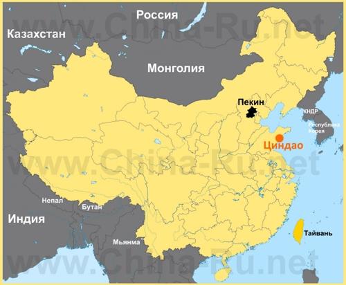 Циндао на карте Китая