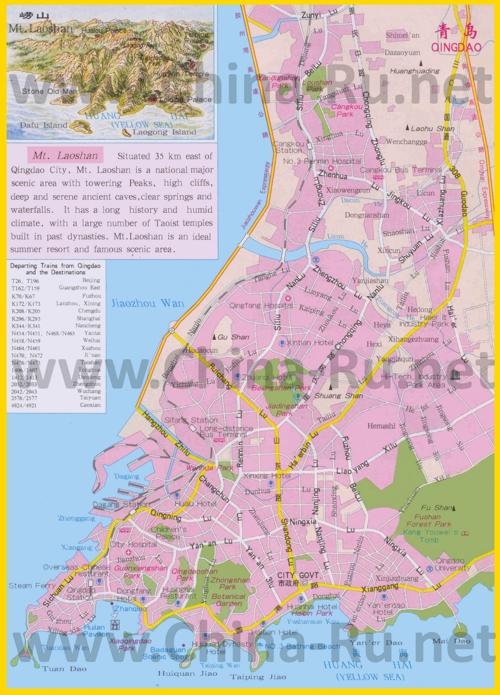 Подробная карта города Циндао