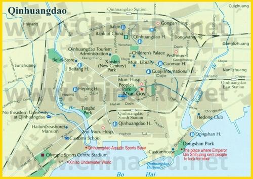 Подробная карта города Циньхуандао