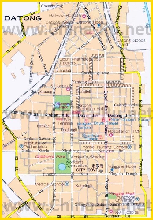 Подробная карта города Датун