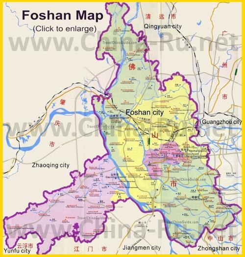 Подробная карта города Фошань