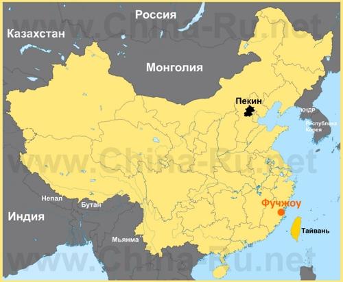 Фучжоу на карте Китая
