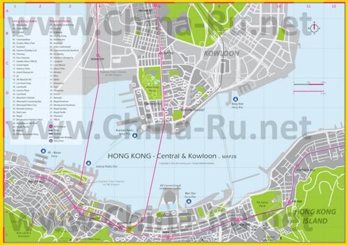 Карта отелей Гонконга