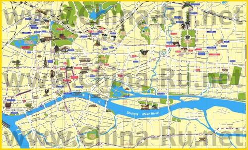 Туристическая карта Гуанчжоу с достопримечательностями