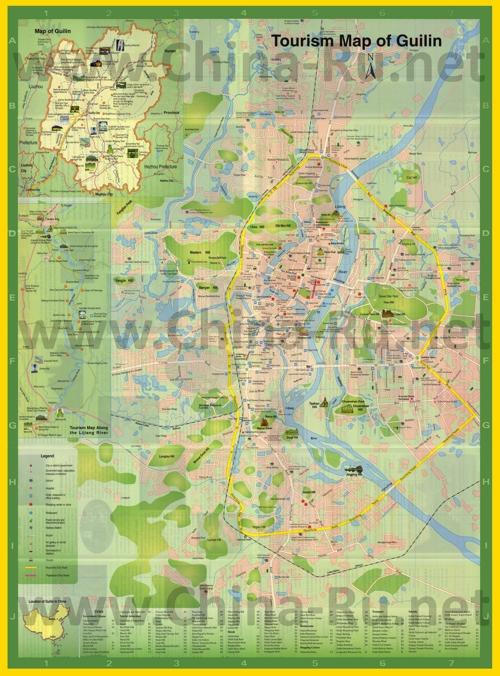 Подробная туристическая карта города Гуйлинь с магазинами и ресторанами