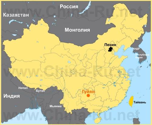Гуйян на карте Китая