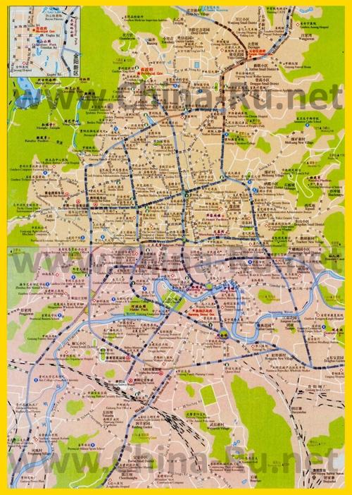 Подробная карта города Гуйян