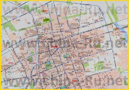 Подробная карта города Хух-Хото с отелями и достопримечательностями