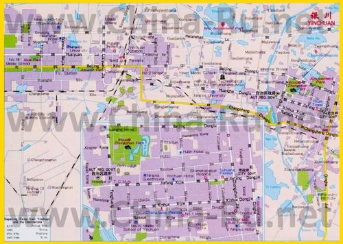 Подробная карта города Иньчуань