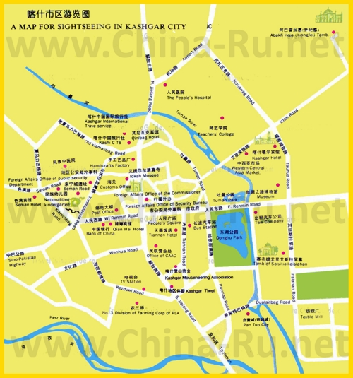 Подробная карта города Кашгар