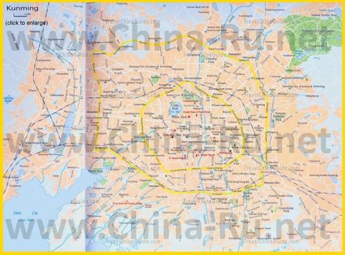 Подробная карта города Куньмин с достопримечательностями