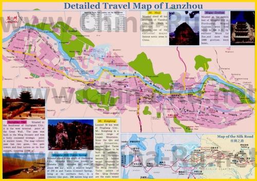 Туристическая карта Ланьчжоу с отелями и достопримечательностями