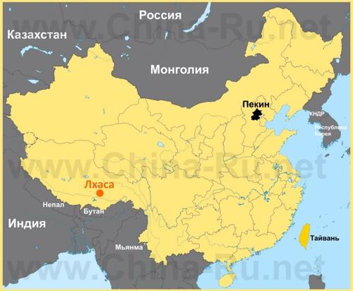 Лхаса на карте Китая