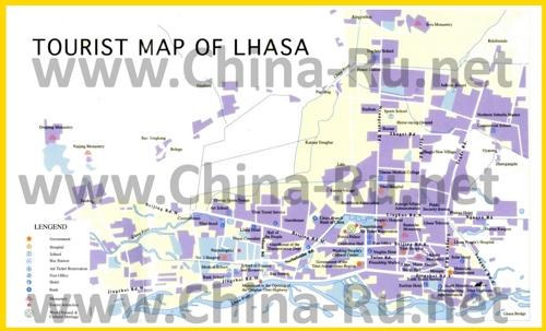 Туристическая карта Лхасы с достопримечательностями