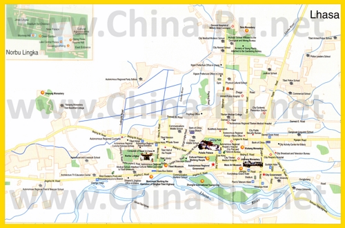 Туристическая карта Лхасы с отелями
