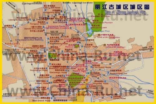 Подробная карта города Лицзян