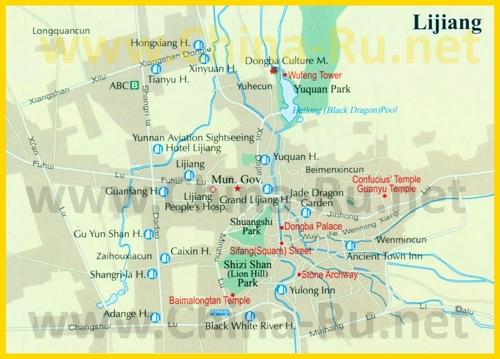 Туристическая карта Лицзяна с отелями и достопримечательностями