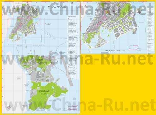 Карта отелей Макао