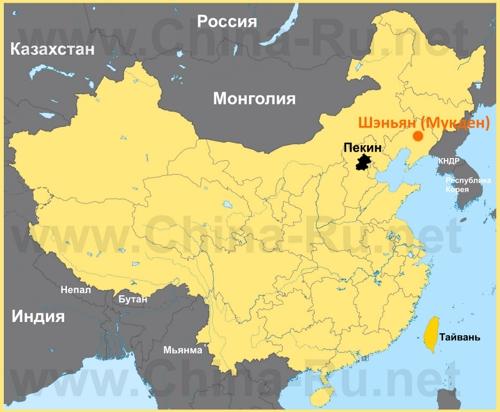 Шэньян на карте Китая