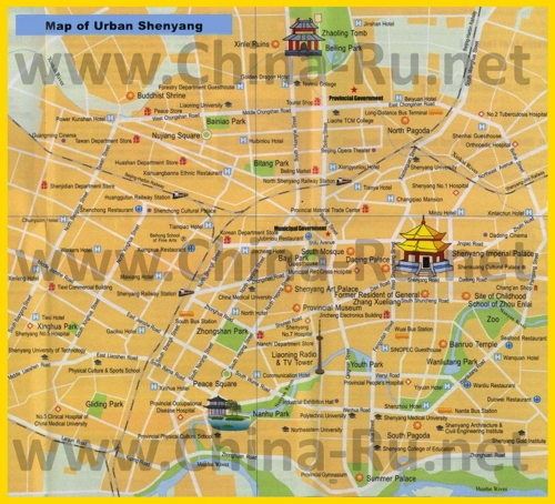 Туристическая карта Шэньяна с отелями и достопримечательностями