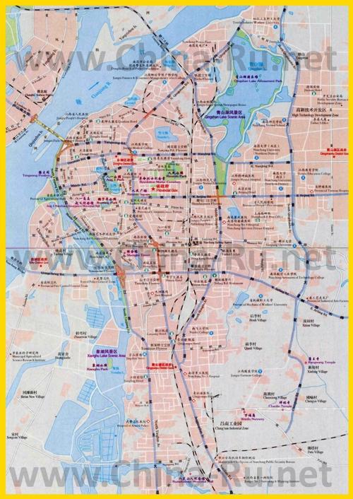 Подробная карта города Наньчан с отелями и достопримечательностями