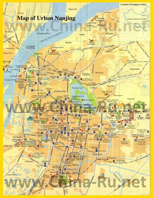 Туристическая карта Нанкина с отелями и достопримечательностями