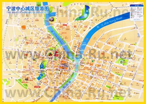Подробная туристическая карта города Нинбо с отелями и достопримечательностями