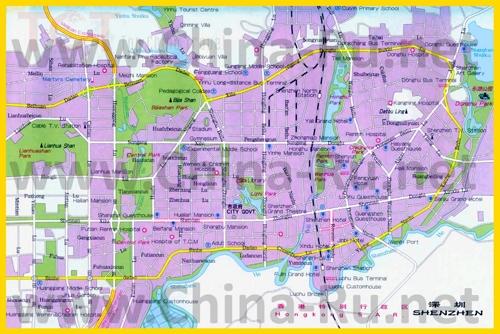 Подробная карта города Шэньчжэнь