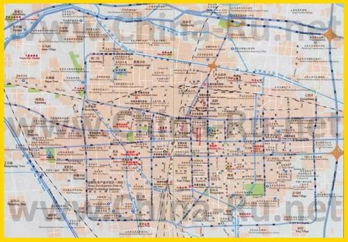 Подробная карта города Шицзячжуан с отелями и достопримечательностями