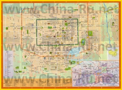 Подробная туристическая карта города Сиань с отелями и достопримечательностями
