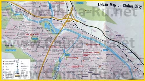 Подробная туристическая карта города Синин с отелями и достопримечательностями