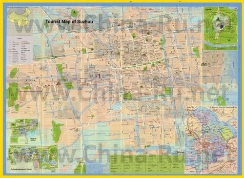 Подробная туристическая карта города Сучжоу с магазинами и достопримечательностями