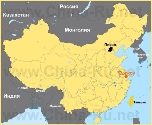 Сучжоу на карте Китая