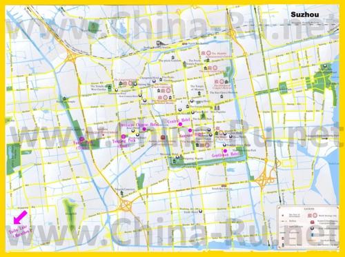 Туристическая карта Сучжоу с отелями и ресторанами