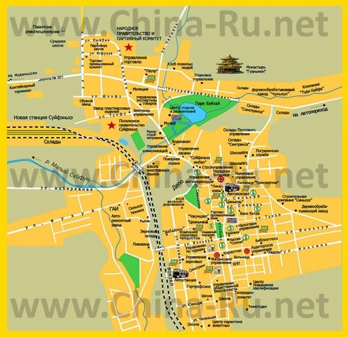 Карта Суйфэньхэ с достопримечательностями для туристов на русском языке