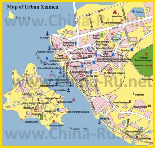 Туристическая карта Сямыня с отелями и достопримечательностями