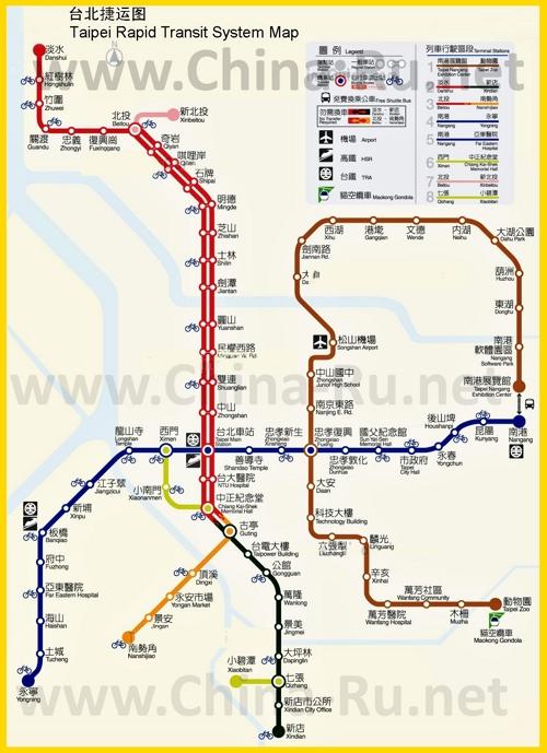 Карта метро Тайбэя