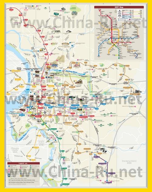 Подробная туристическая карта города Тайбэй