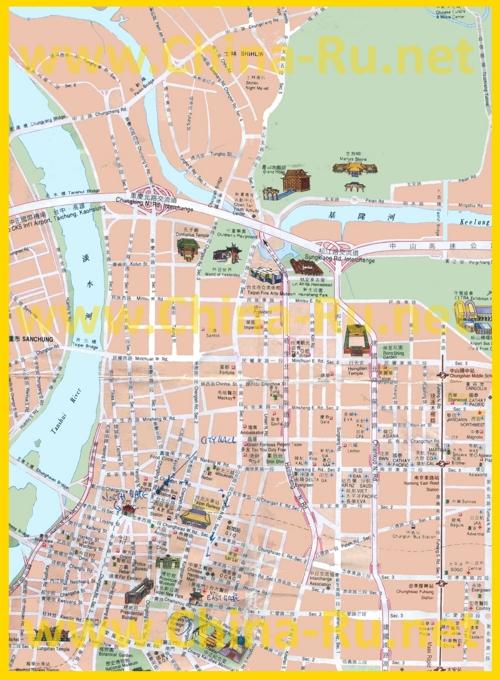 Туристическая карта Тайбэя с достопримечательностями